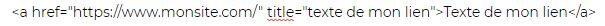Exemple de l'écriture d'un lien en code HTML